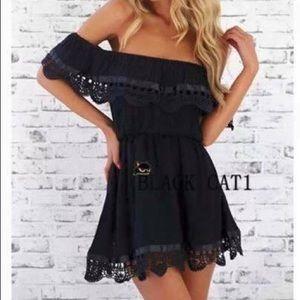 Dresses & Skirts - Black Lace Off Shoulder Dress